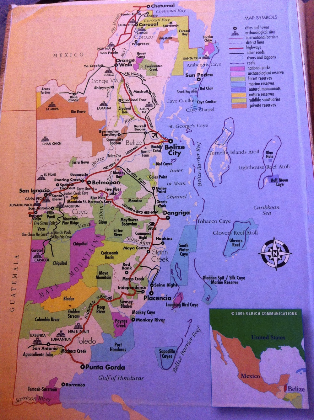 The map of Belize that an official handed us at the border…seem's pretty straight forward!