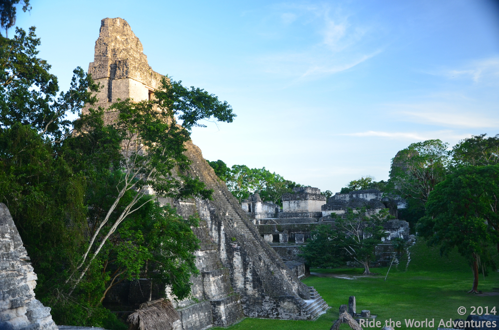 A shot from the North Acropolis looking at the Great Jaguar Temple then over to the Central Acropolis, the largest residential, and administrative area in Tikal.