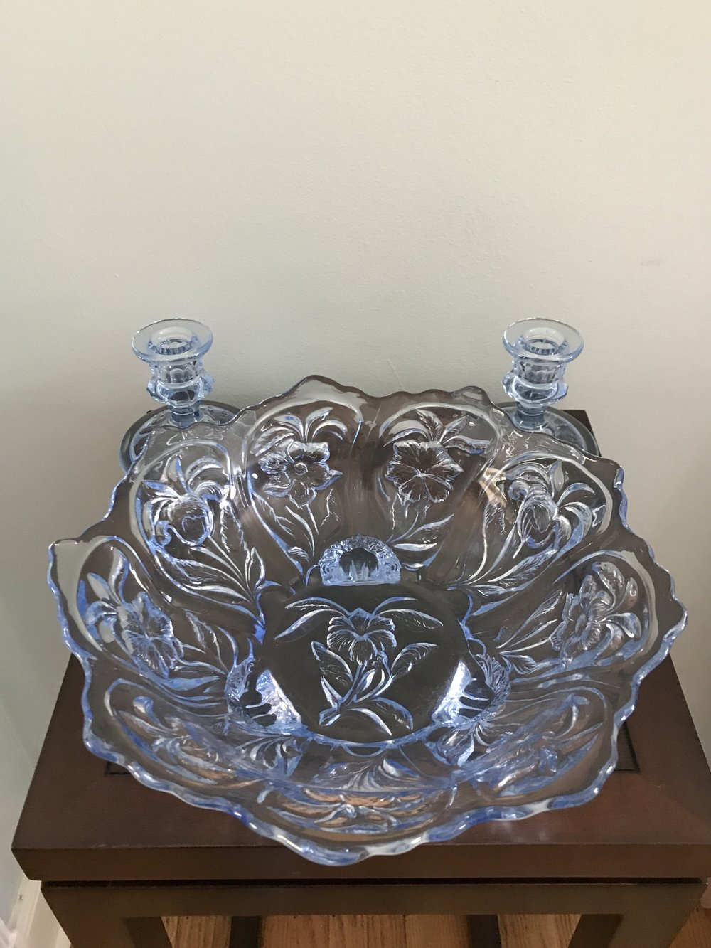 Antique, Depression-Era Blue Glass Bowl and 2 Candle Holders