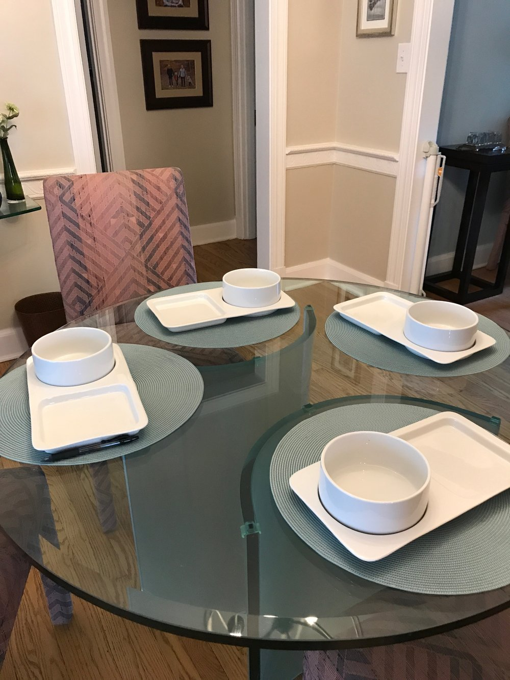 Set of four soup and sandwich plates and bowls