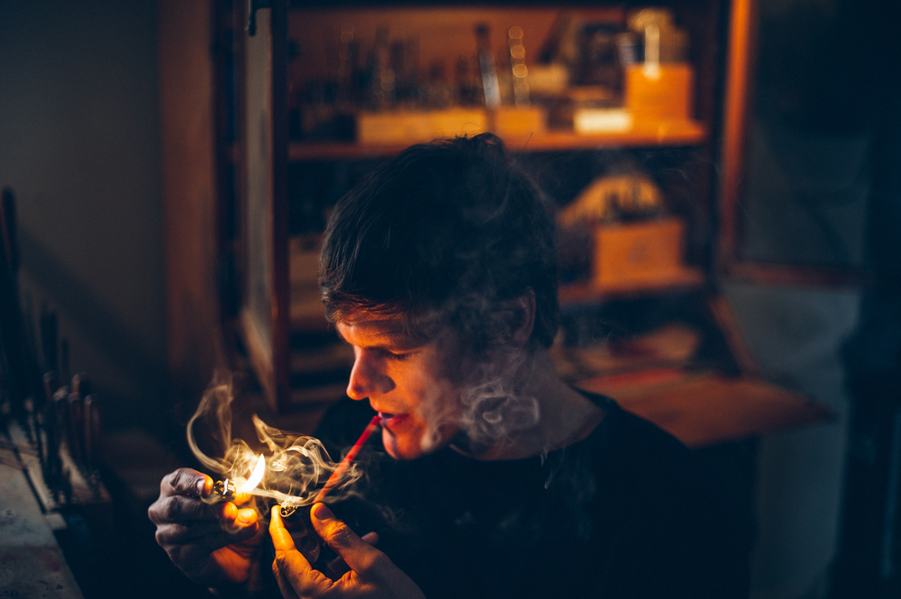 Portrait of Michael Parks in his workshop