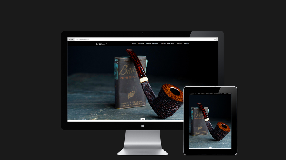 Website homepage design for Parks Pipes