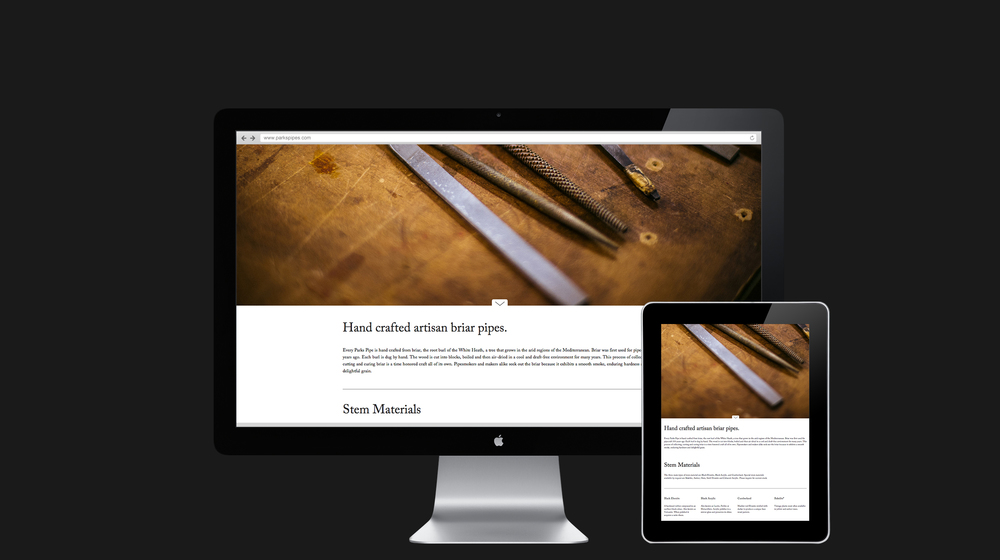 Website inside page design for Parks Pipes