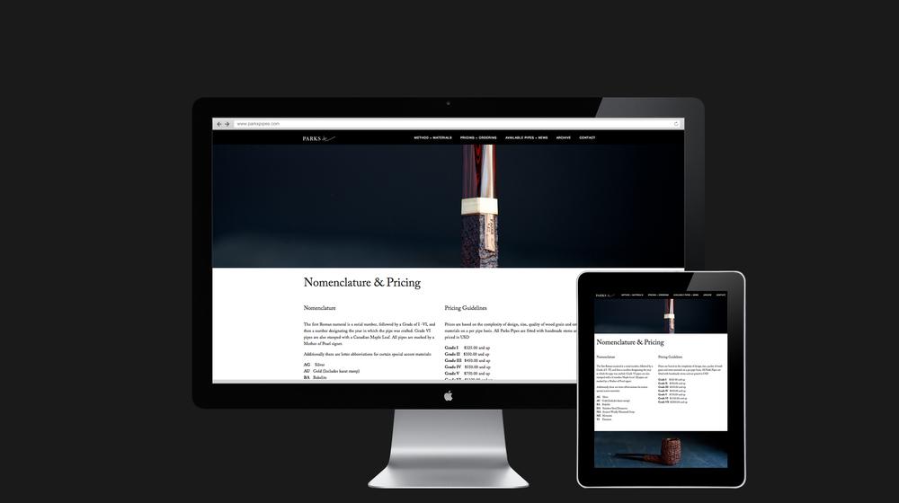 Website inside page design for Parks Pipes
