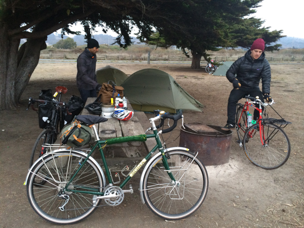 Tubus Cosmo rear rack and Nova front rack outfitting a Soma Saga on a camping trip to Half Moon Bay