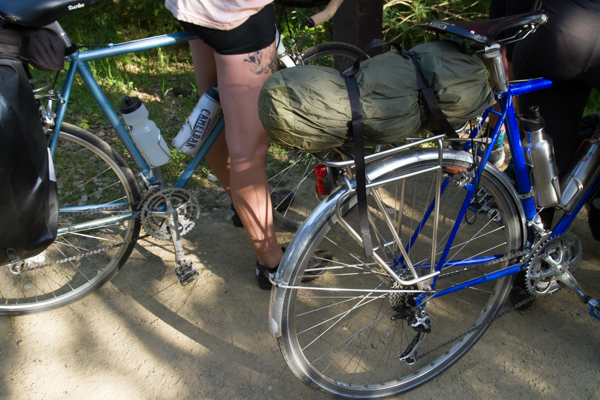 Tubus Cosmo rack on Lindy's Miyata 1000.  Large platform is perfect for carrying a tent or sleeping bag.