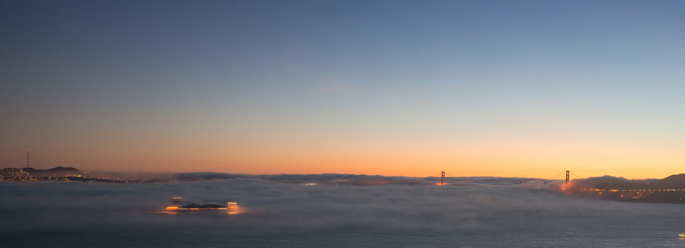 Sunset view from Angel Island Fog and Golden Gate Bridge