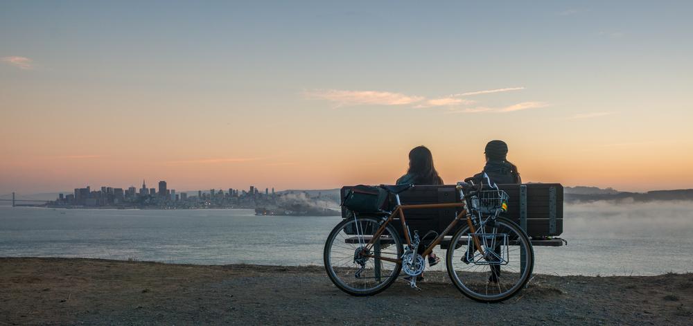 Sunset view from Angel Island Rivendell bike San Francisco Alcatraz Fog