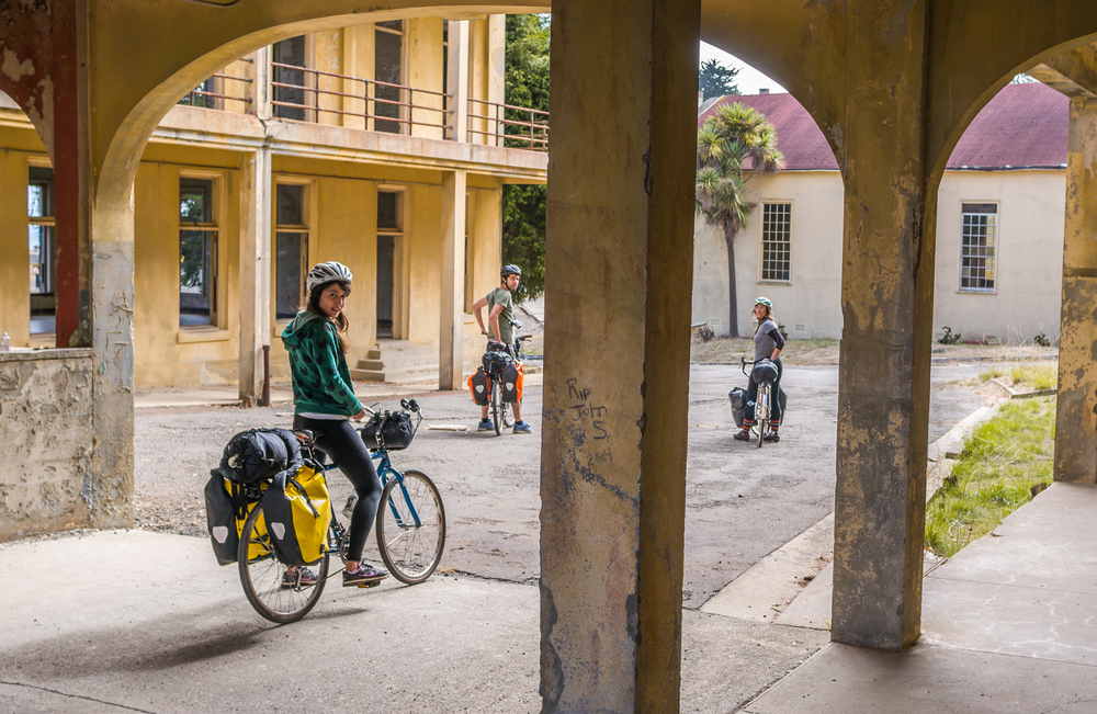 Angel Island Architecture with Bikes and Building Ruins