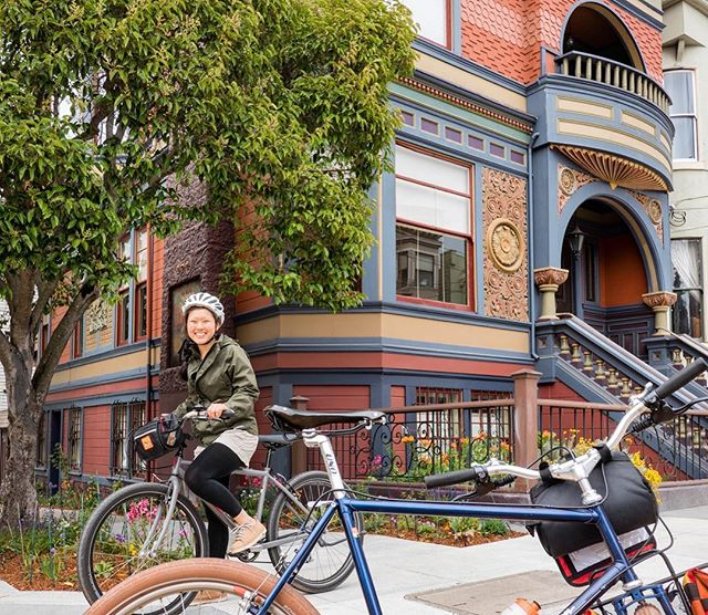 Outside one if our favorite Queen Anne Victorians on tour in the Haight.  Every tour is a crash course in SF architecture and the evolving culture of the city #nobasicshit #morethanabiketour
