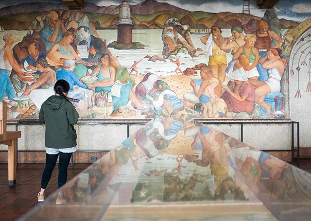 Now playing on tour: A peek into SF history, this scene a Baker Beach panorama, part of the finest and most dramatic WPA-era fresco collage in SF @beachchalet
