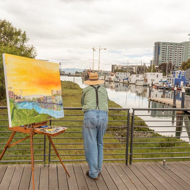 Riding along SF's oldest waterway aka Mission Creek (which connected the Bay to the Mission back in the day) on today's tour and spotted this painter bringing his technicolor vision to the view.