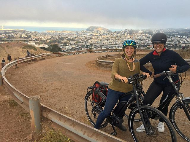 So amped to be conquering all the SF hills / testing e-bikes with these ladies.  Thanks to @newwheel for demo e-steeds 🌈🤗👌