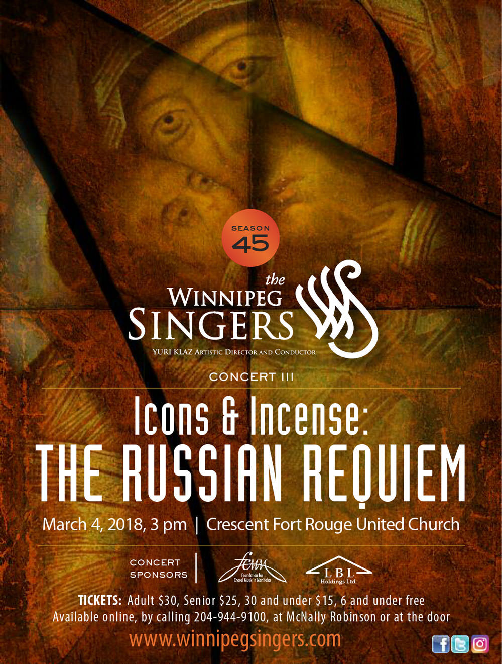 Winnipeg Singers THE RUSSIAN REQUIEM Concert Poster