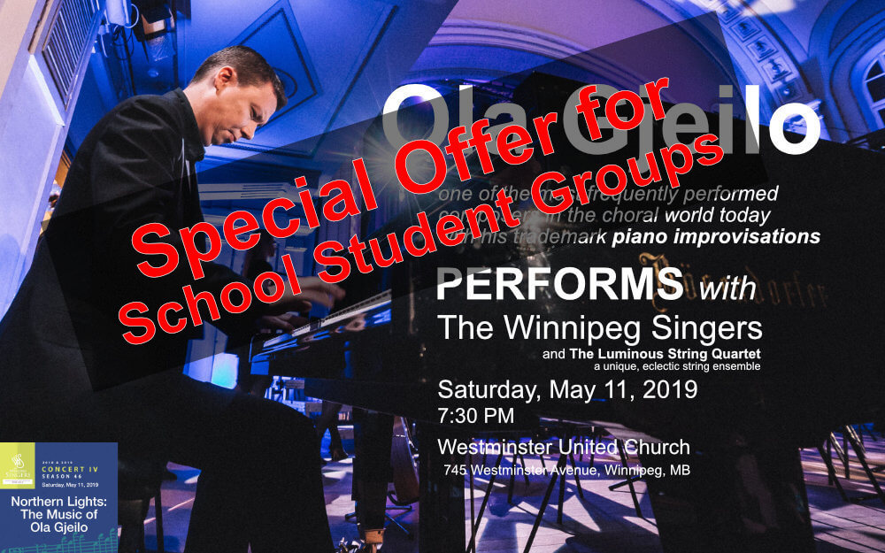 Ola Gjeilo performs with The Winnipeg Singers Saturday, May 11, 2019, 7:30pm at Westminster United Church, 745 Westminster Avenue, Winnipeg, MB