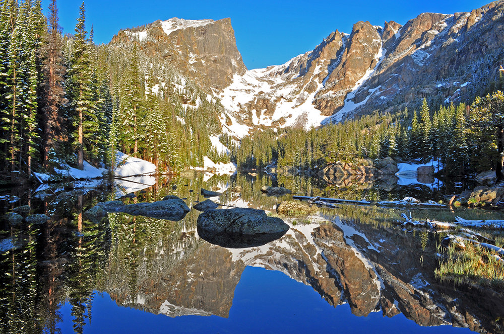 Colorado, Hallett Peak reflected in Dream Lake