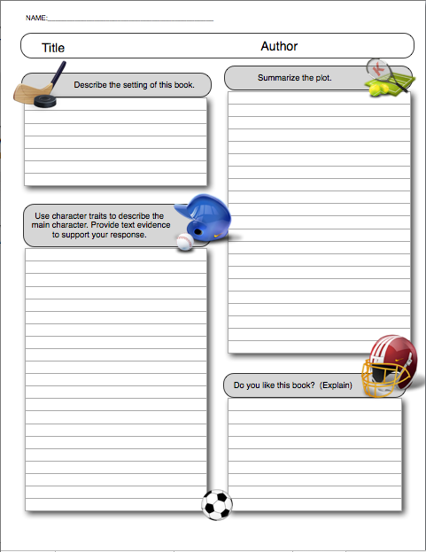Book Report Template Sports Themed My Life Happens – Template for a Book Report