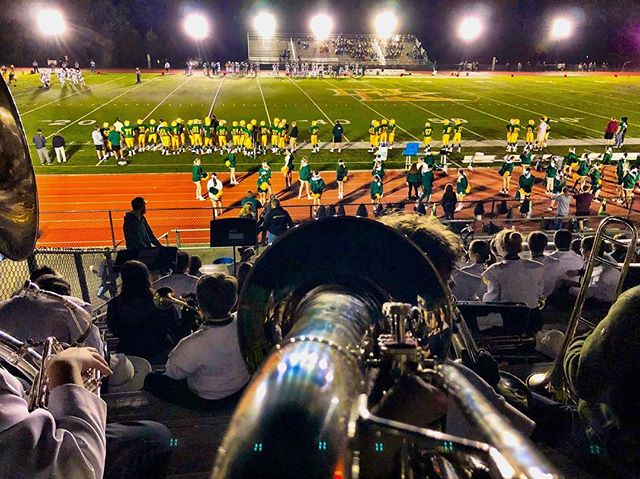 The absolute best way to watch a football game. Big thank you to the MKMB band for letting an old guy play again.  You are a great bunch of kids.