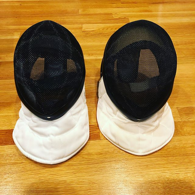 Now that we have two face masks, Josh will be hosting bouts in our yard starting in the spring. Any challengers? 🤣🤣 #fencing 🤺.