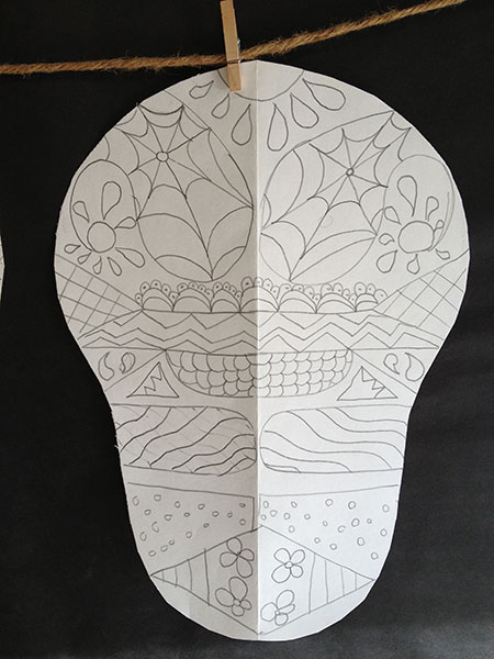 dia de los muertos symmetry skull  u2014 artsmudge