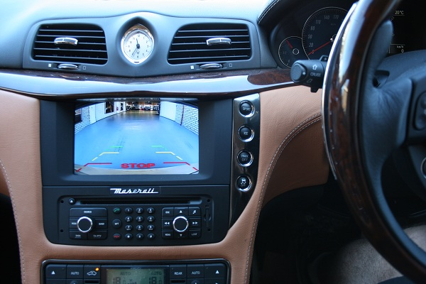 The AIS camera interface for Maserati gives a Chrystal clear view behind the vehicle.
