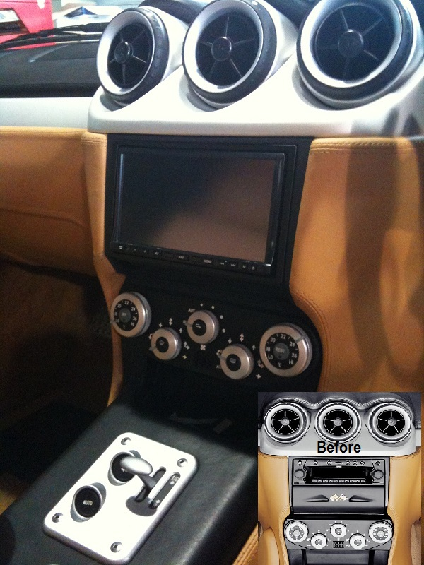Ferrari 612 Double din dash conversion with navigation and camera.