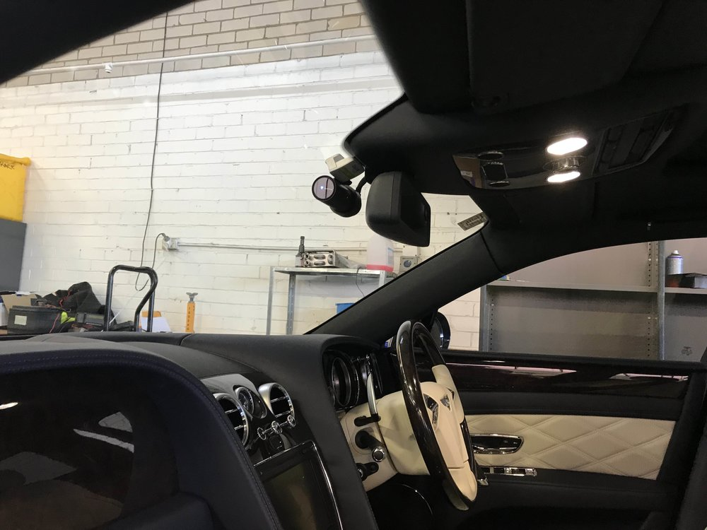 A Blackvue 750S 2CH installed in a Bentley Continental Spur