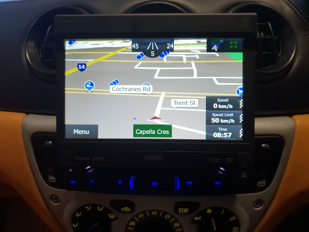 The accurate mapping software also shows speed and speed limits