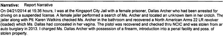 Kingsport Police Department report via The Smoking Gun.
