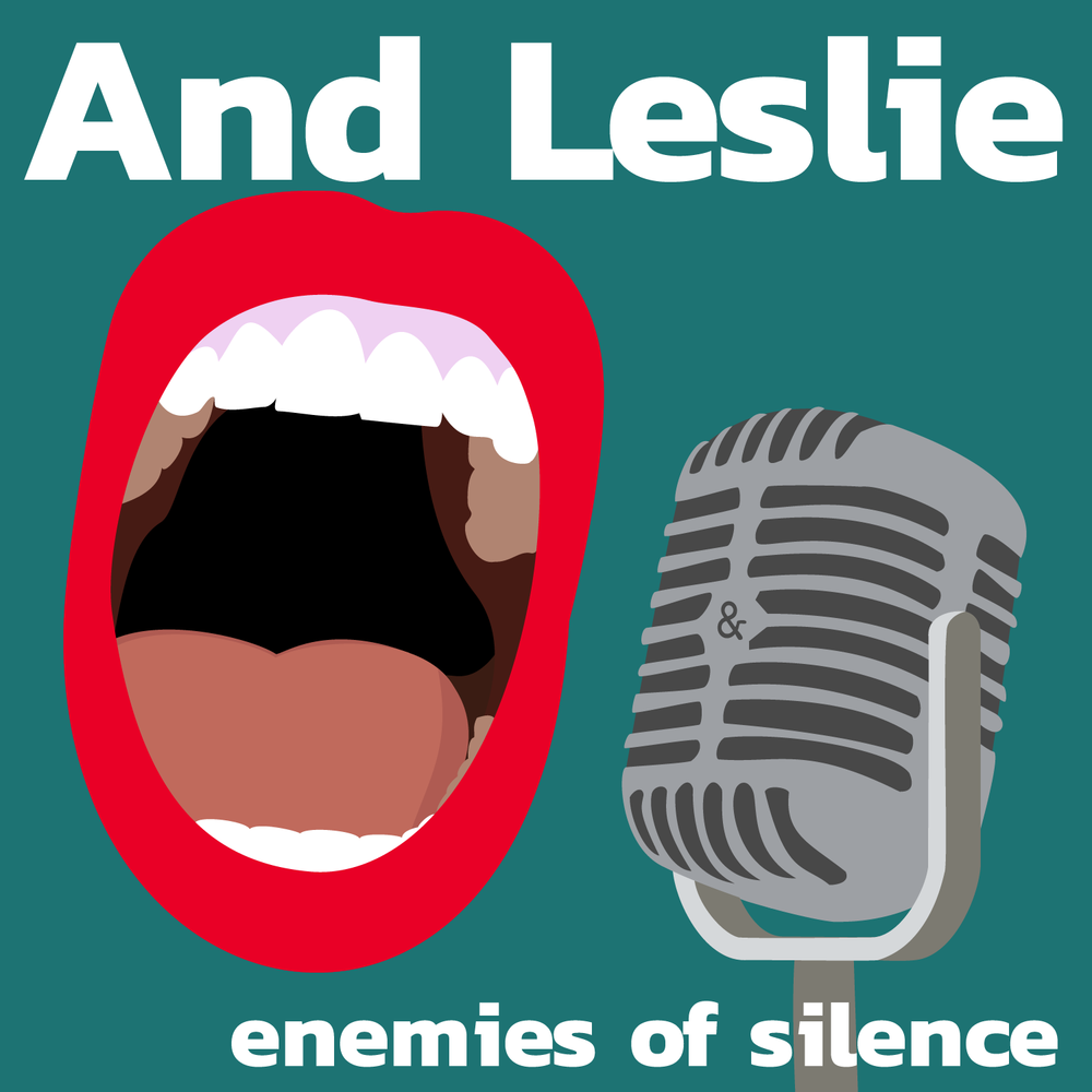 And Leslie's logo. Designed by  Amanda Bannon . It's a stylized, faceless mouth suspended near an old-school microphone with an ampersand in the center of it.