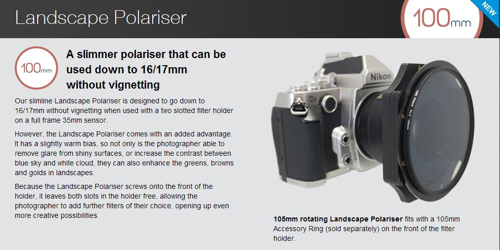 New slimline Lee Polariser for wide angle shots without vignetting