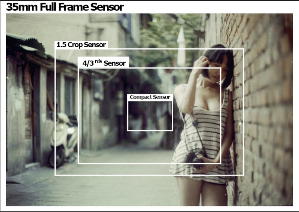 Full frame verses 1.5 crop and 4/3rds sensor size