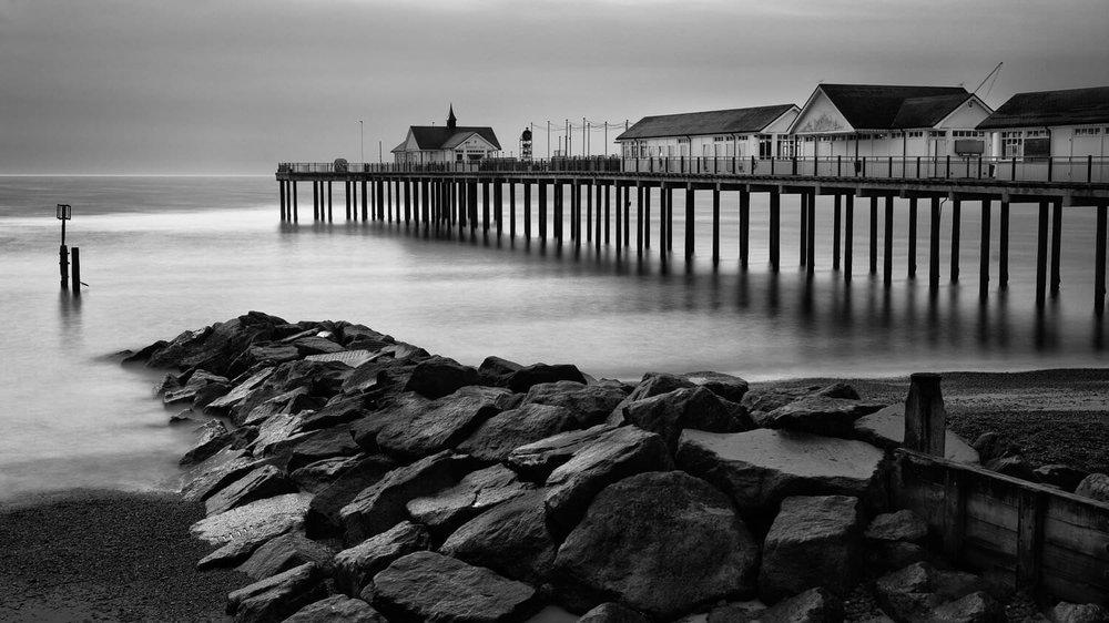 Southwold Pier & defenses sunrise