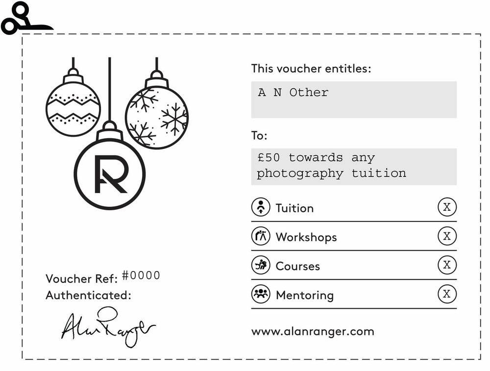 Give or receive a Photography Tuition Voucher - Any value, any event, immediate delivery