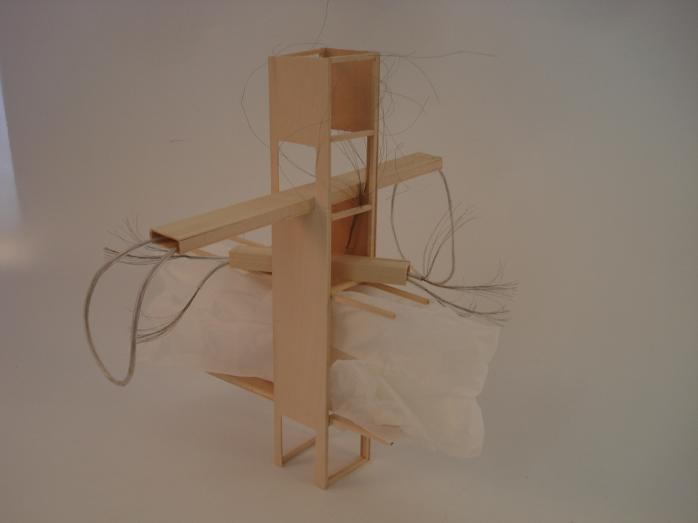 Balsa wood and cables.
