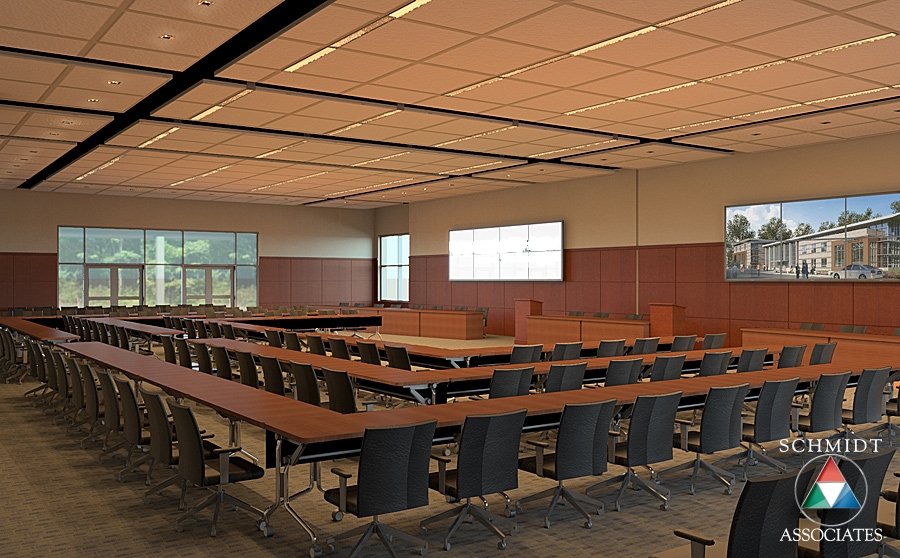 Modern board room. Modeled and rendered by Drew Gingrich.