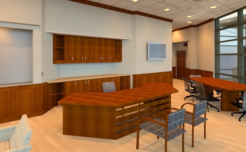 Early rendering showing custom desk concept - Modeled and rendered by Drew Gingrich