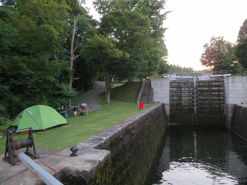 Camping at the lock of the Rideau Canal. Photo by The Macdonalds