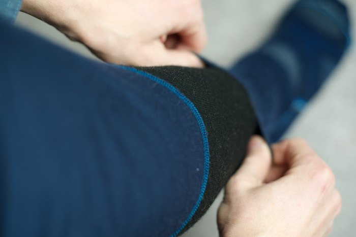 The bottoms feel moulded to your legs, and are articulated for easy movement