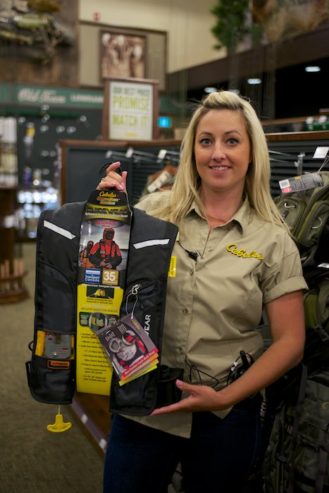 Kimberly, showing a Cabela's Guidewear Auto PFD