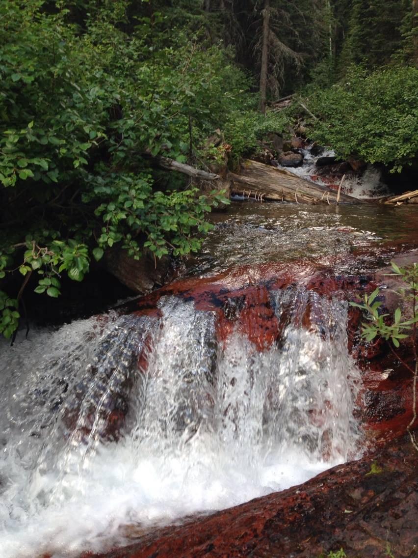 Beautiful red rock waterfall