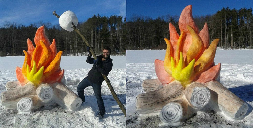 Friday Chuckle: Campfire Made From Snow — Traversing