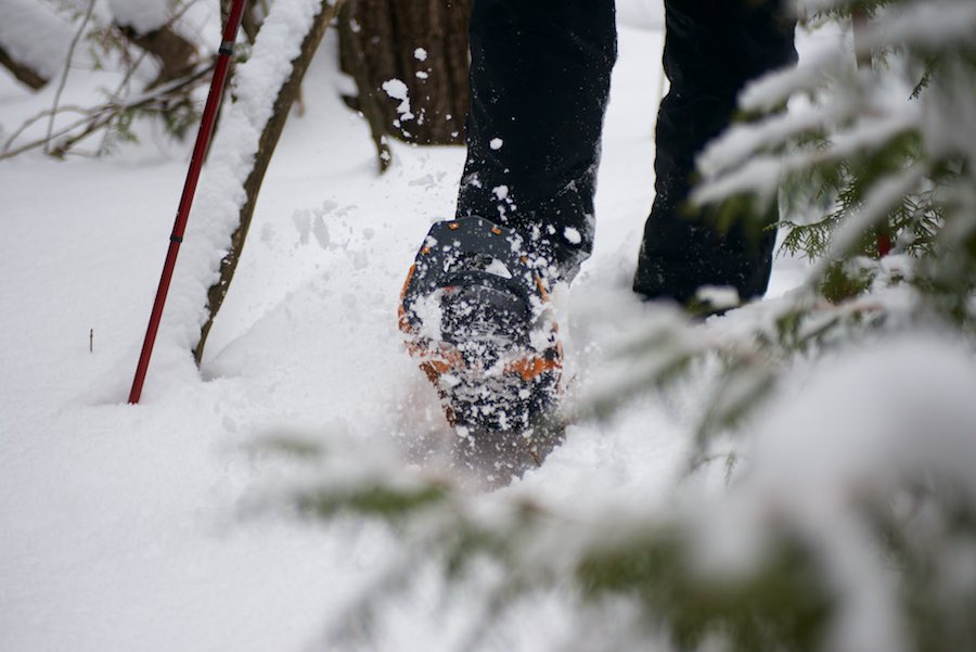 No need for a wide gait, or fear of slipping with these snowshoes!