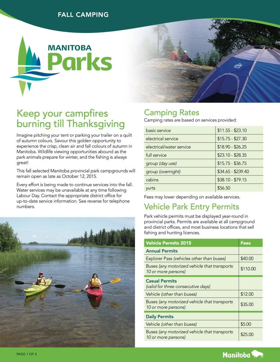 Manitoba Opens More Campgrounds For An Extended Fall Camping