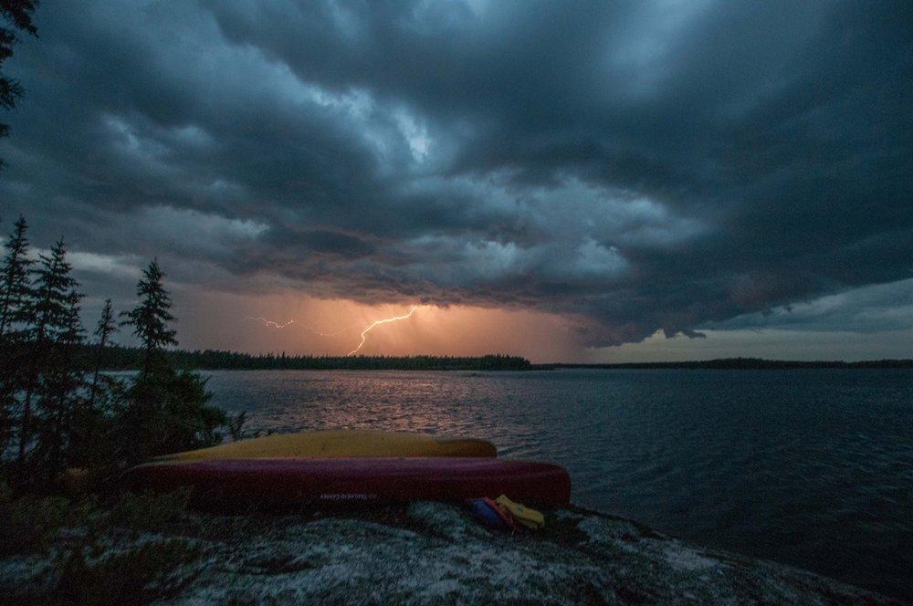 Jimmy MacDonald -Weathering out a storm on Black Bear Island Lake, Churchill River Saskatchewan