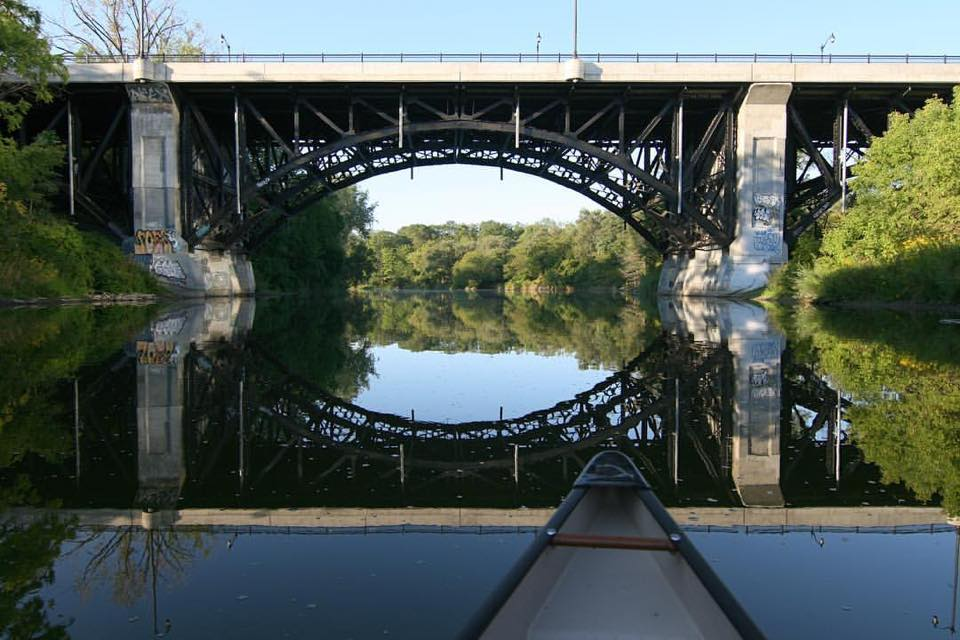 Michael Mitchener - Bloor Street West Bridge from the Humber River on an early morning paddle. Toronto, Ontario