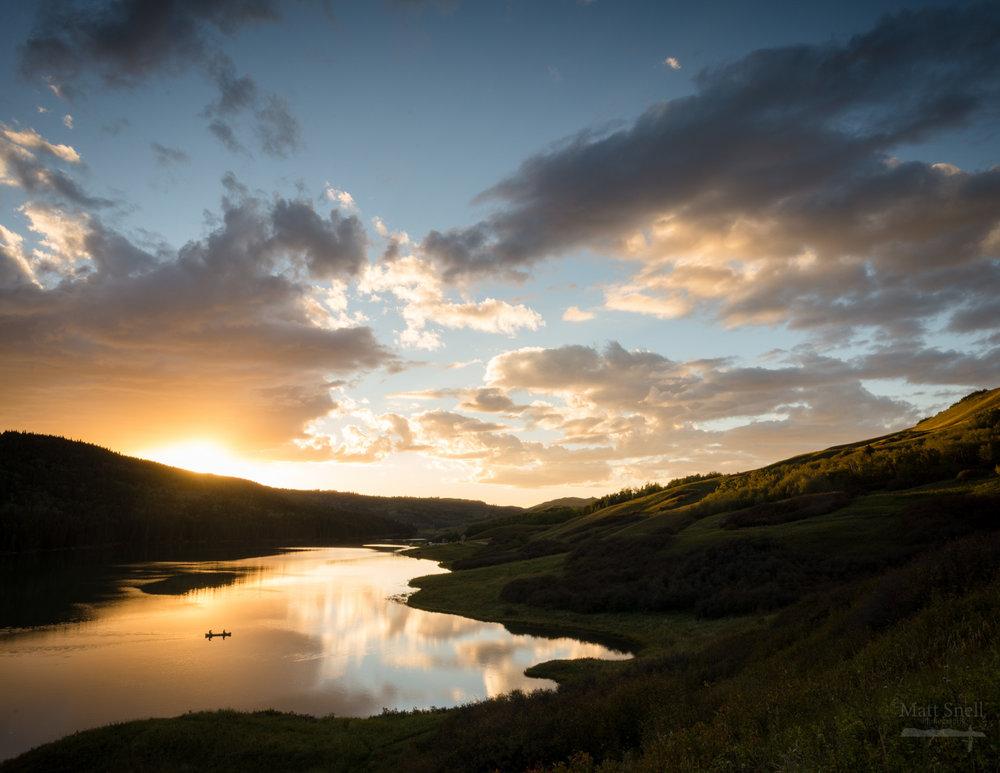 Matthew Snell -Canoeing in a vast wilderness. - Reesor Lake, Cypress Hills PP, Alberta
