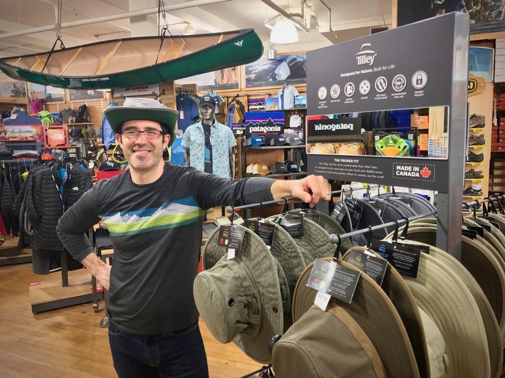 Jon from our local gear store Wild Rock wearing the Paddler's Hat