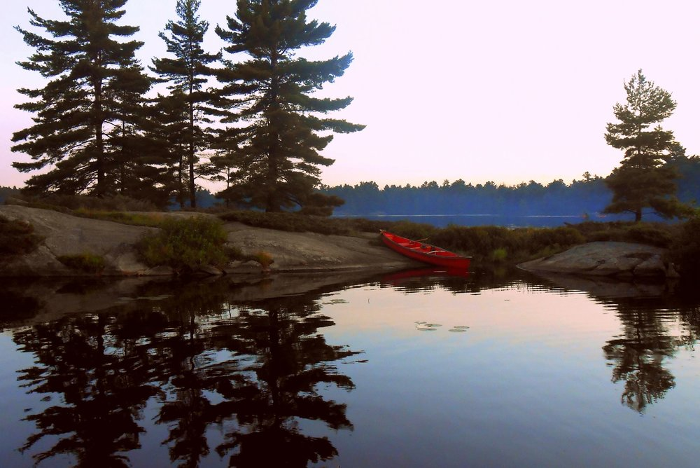 Jenny Jutzi - Our canoe taking a bit of a rest while we explore Picnic Island on Gurd Lake before sunset - Grundy Lake Provincial Park, ON