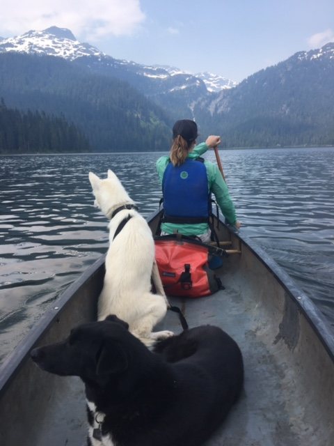 Megan Frawley - Paddling across Callaghan lake with the sled dogs to access an amazing alpine lake hike.